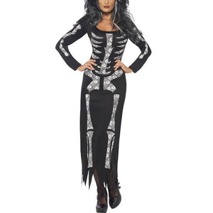 Women Ghost Festival Horror Skeleton Costume Halloween Holiday Party Club Dress - esstey