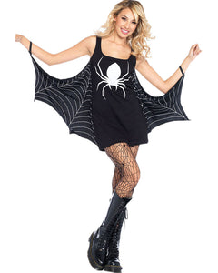 Women's Halloween Spider Mini Fancy Dress - Black Low Neck Sexy Seductress Costume - esstey