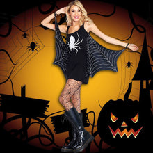 Load image into Gallery viewer, Women's Halloween Spider Mini Fancy Dress - Black Low Neck Sexy Seductress Costume - esstey