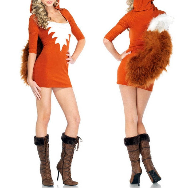 Halloween Ladies Sexy Fox Costume Animal Cosplay Party Fancy Dress - esstey