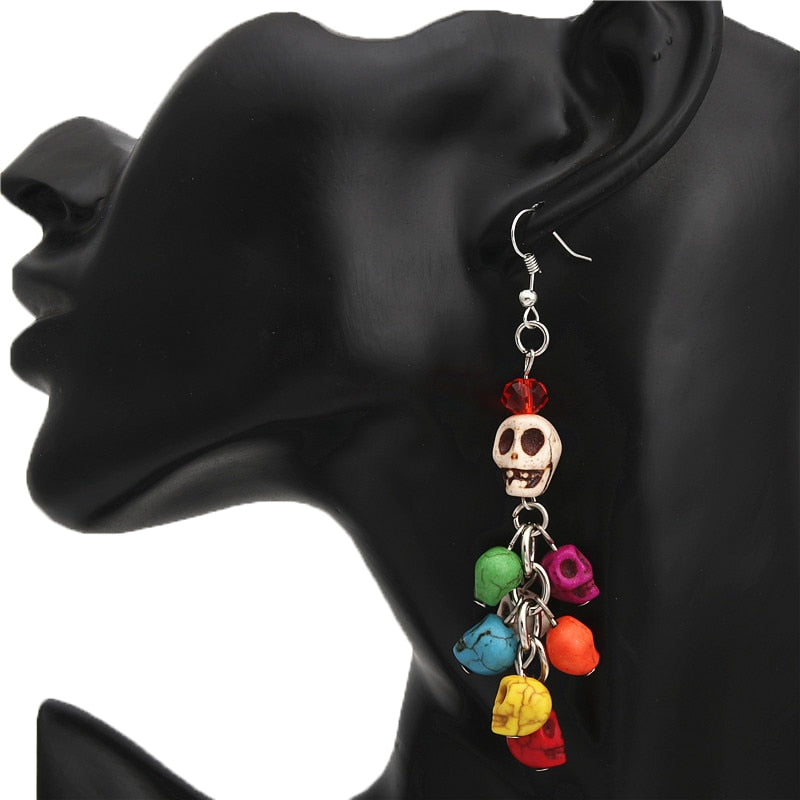 Skull Earrings - Colorful Beads Day Of The Dead Jewelry Halloween Gift For Friend - esstey