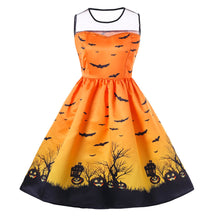 Load image into Gallery viewer, Women O-Neck Print Sleeveless Halloween Vintage Gown Dress- plus Size - esstey