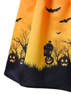 Women O-Neck Print Sleeveless Halloween Vintage Gown Dress- plus Size - esstey