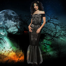 Load image into Gallery viewer, Women Halloween Skeleton Off Shoulder Costume | Cosplay Party Maxi Mermaid Dress Black - esstey