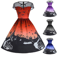 Load image into Gallery viewer, Halloween Women's Mesh Patchwork Printed Vintage Gown Sleeveless- Plus Size - esstey