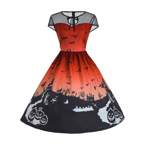 Halloween Women's Mesh Patchwork Printed Vintage Gown Sleeveless- Plus Size - esstey