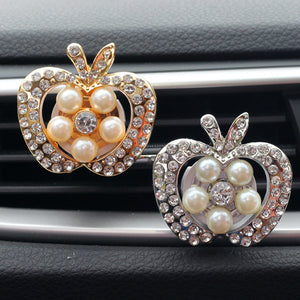Apple with Crystal and Beads Car Perfume Air Freshener Clip - esstey