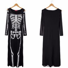 Load image into Gallery viewer, Halloween Skeleton Black Long Maxi Dress for Women - esstey