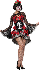 Women Beautiful Adult skeleton ghost zombie bride Halloween Dress - esstey