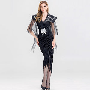 Black Victorian Gothic Vampire Dress | Spider Cosplay Halloween Party Outfit For Women - esstey