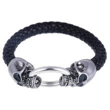 Load image into Gallery viewer, Wolf Head Stainless Steel Leather Bracelets for Men - esstey