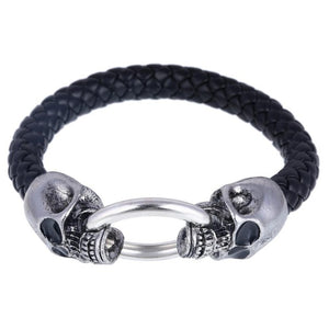 Wolf Head Stainless Steel Leather Bracelets for Men - esstey