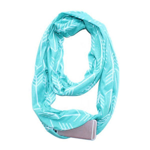 Women Convertible Winter Scarf with Zipper Pockets - esstey