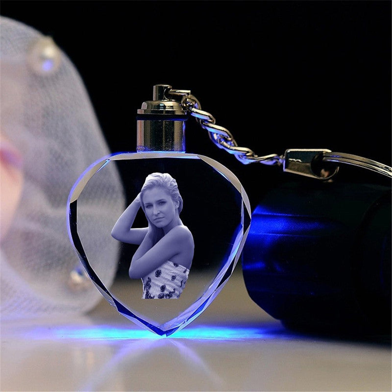 Customized 3D Heart Shape LED Laser Engraved Key Rings - esstey