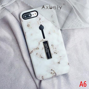 Marble Fashion case for iPhone 6s 6 XS MAX/XR 7 8 Plus Phone Cases with hidden stand and finger holder - esstey