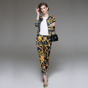 Blazers Pants Suit Flora Print two Piece Set Long Slim Jacket + Pants - esstey