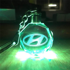 3D LED Light Car Logo Key Chain Laser Engraved - esstey