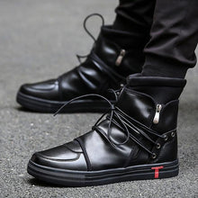 Load image into Gallery viewer, 'Noir' Deluxe High Top Sneakers - esstey
