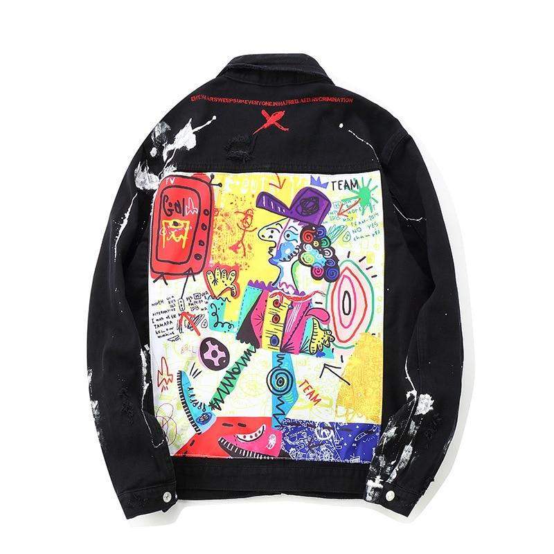 'Cartoon Appliques' Denim Jacket - esstey