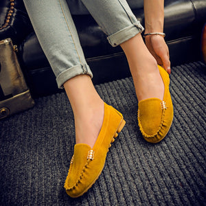 Women's Leather Shoe | 15% OFF - Big Size Flat Suede Shoes - esstey