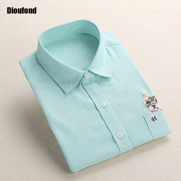 Dioufond Cat Embroidery Blouses