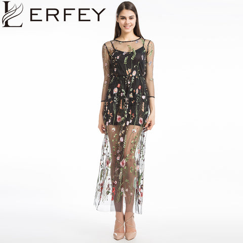 LERFEY Embroidery Flower Dress