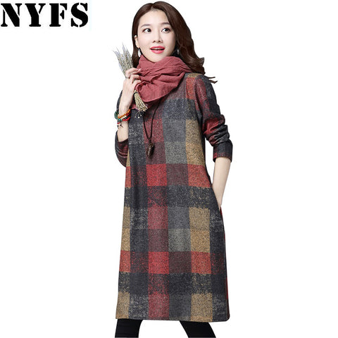 NYFS Elegant Long sleeve cotton dress