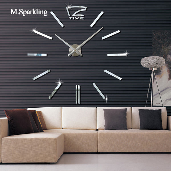 M.Sparkling DIY wall clock modern design digital wall clock sticker large size living room kitchen decorative 3D clock