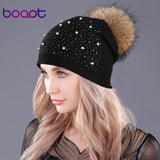 Diamond pearl double-deck real raccoon fur pompom beanie