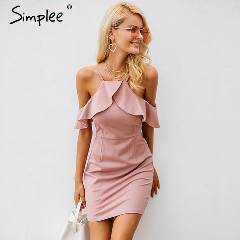 Simplee Strap cold shoulder dress