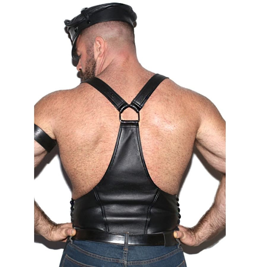 Black Patent Leather Top Vest + Briefs Twin. Clubwear for Men
