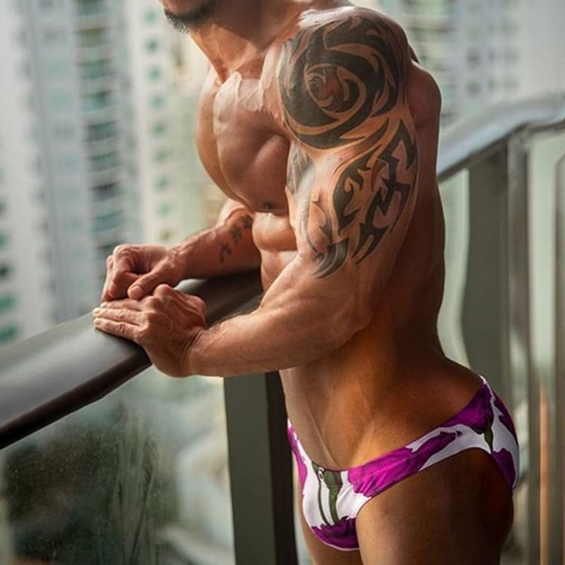 2020 Swimming Briefs. Low Rise Quick Dry Beach.Floral Swimwear