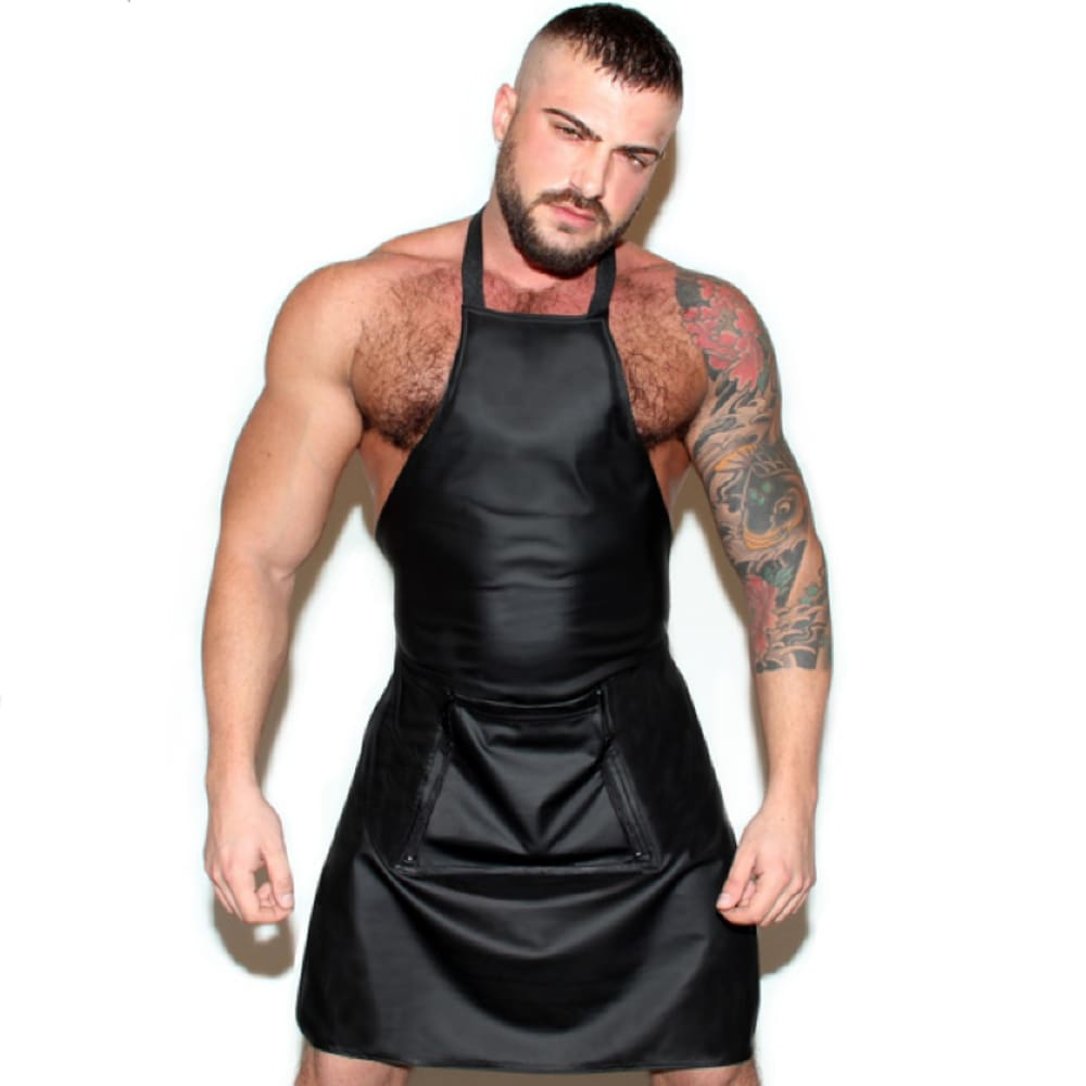 Black Patent Leather Open Crotch Apron for Men