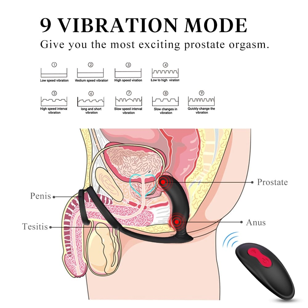 Male Masturbate Prostate Massage with Ring Remote Control Anal Vibrator Silicone Sex Toys for Men Dildo Butt Plug Penis Training (4)
