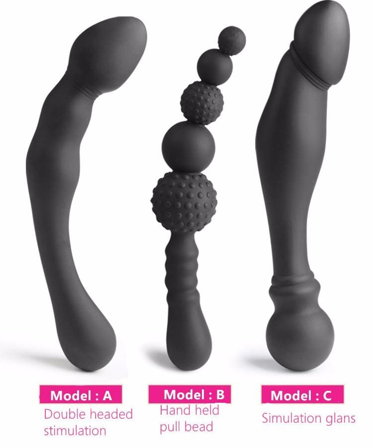 NEW 3 Styles Manual Silicone Black Big Pull Beads Anal Plug
