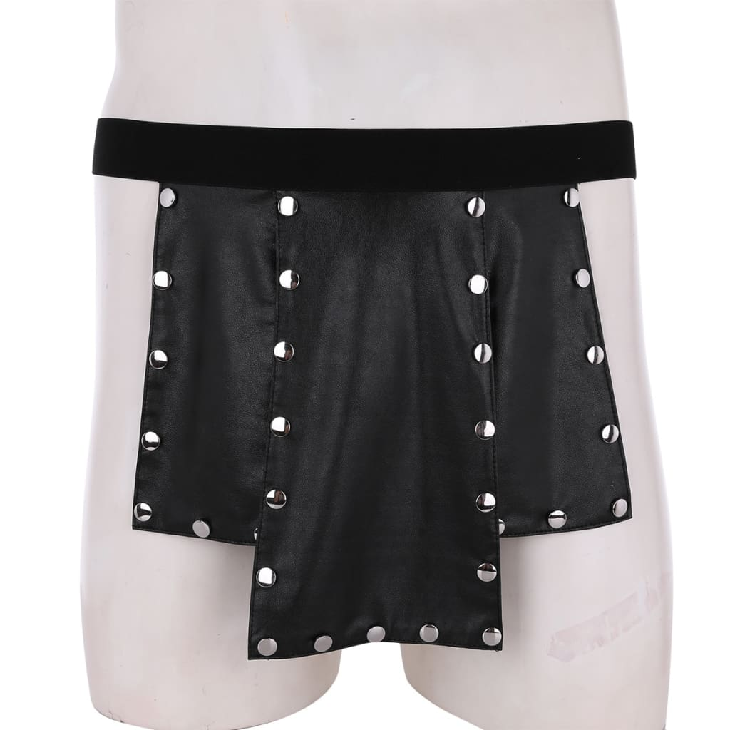 Scotland Style Faux Leather Low Rise Metal Studded Kilt