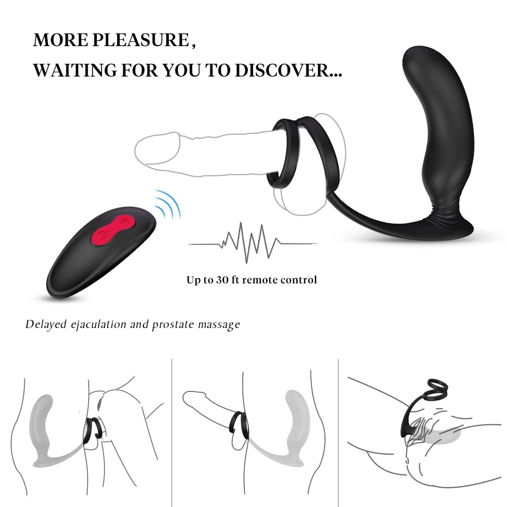Male Masturbate Prostate Massage with Ring Remote Control Anal Vibrator Silicone Sex Toys for Men Dildo Butt Plug Penis Training (8)