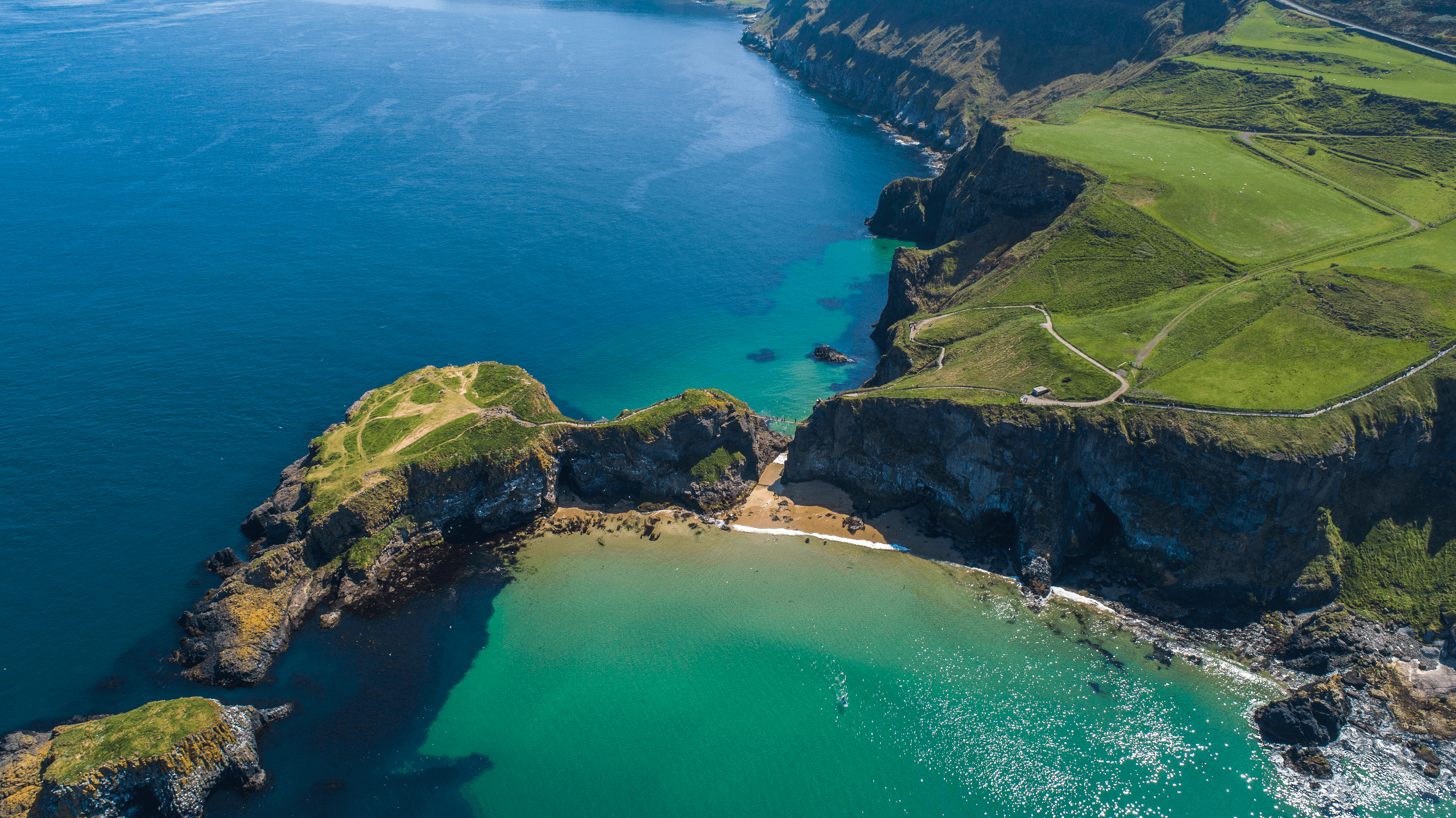 Carrick-a-Rede Rope Bridge Aerial Helicopter Northern Ireland Tour