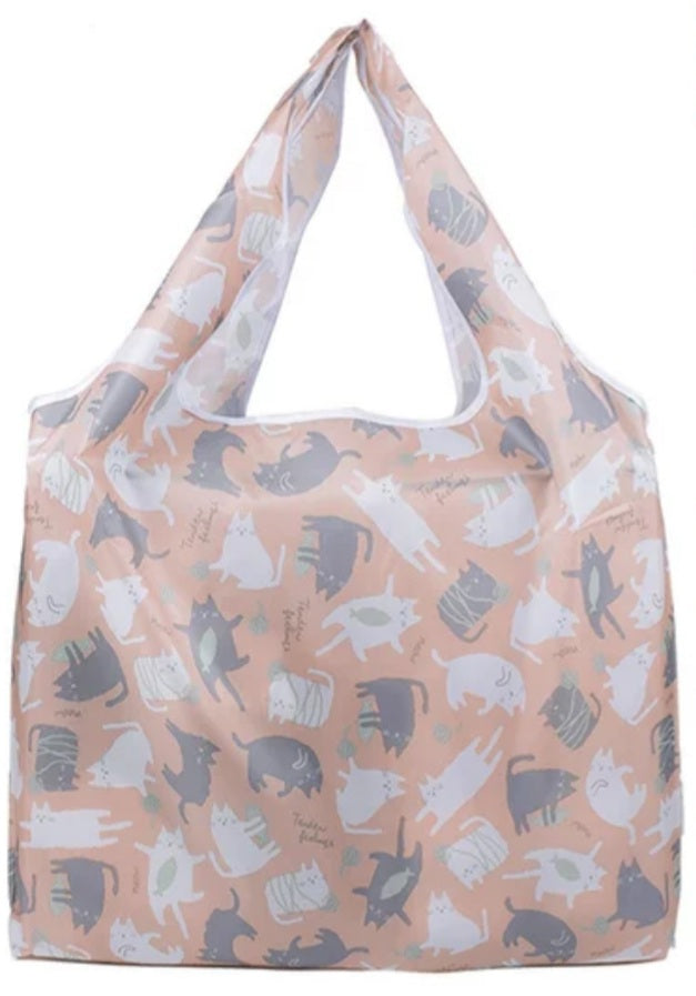 FOLDABLE BAG - Pink Multi-Cat Reusable Bags
