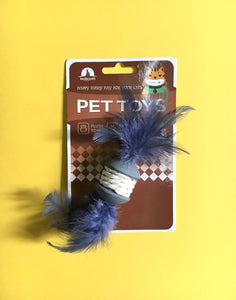 CAT TOY - Rubber ball with feathers