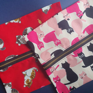 POUCHES - Hand sewn cloth pouches with central zip