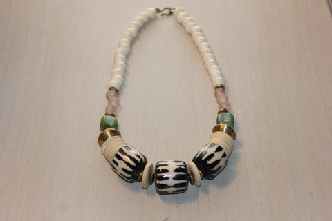 beaded stranded bead wood africa necklace big products from elegant double bone simple