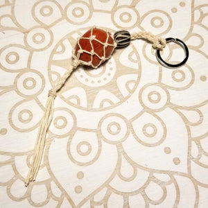 Macrame Crystal Holder Key Chain with Red Jasper