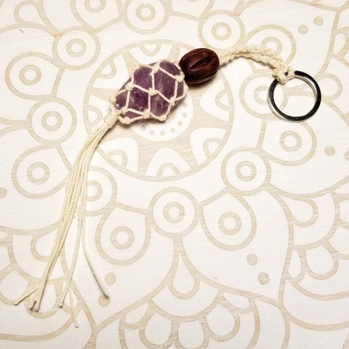 Macrame Crystal Holder Key Chain with Amethyst
