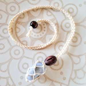 Macrame Crystal Holder Necklace with Crystal Tumbled Stone