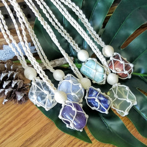 Macrame Crystal Necklace with Tumbled Stone - Natural