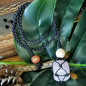 Macrame Crystal Necklace with Tumbled Stone - Black