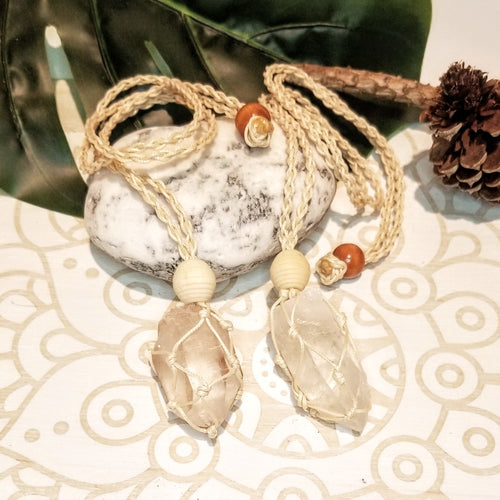 Macrame Crystal Holder Necklace + Clear Quartz