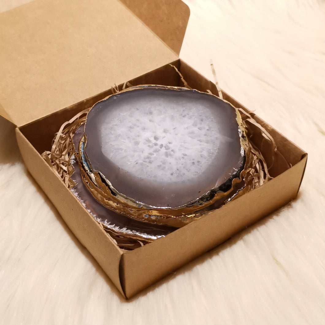 Agate Slice Coaster - Grey