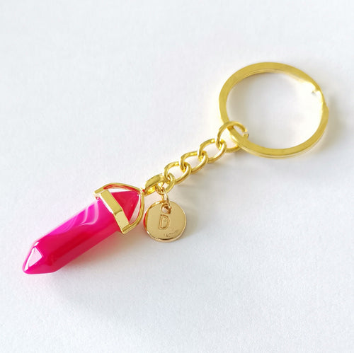 Personalised Crystal Point Key Chain - Pink Agate